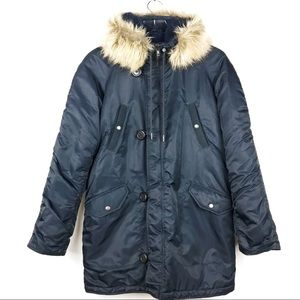 JCrew Navy Blue Winter Parka Sz S